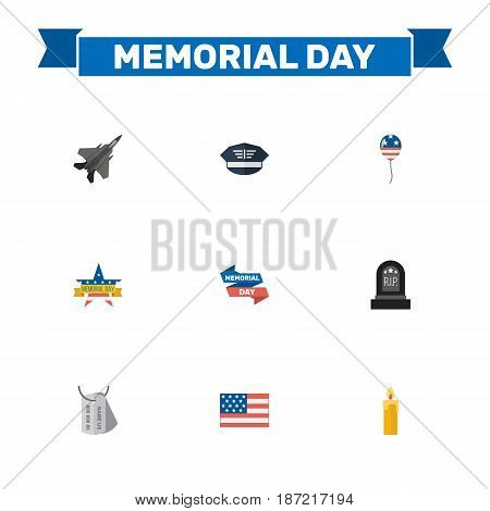 Flat Tomb, Ribbon, Memorial Day And Other Vector Elements. Set Of Memorial Flat Symbols Also Includes Memorial, Hat, Wax Objects.