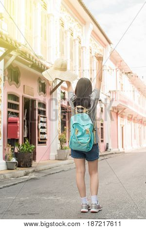 Young Asian Traveling Blogger Or Backpacker In A City Phuket, Thailand.