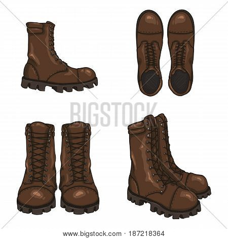 Set Of Vector Cartoon Army Boots. High Military Shoes.