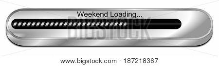 silver Weekend Loading bar - 3D illustration