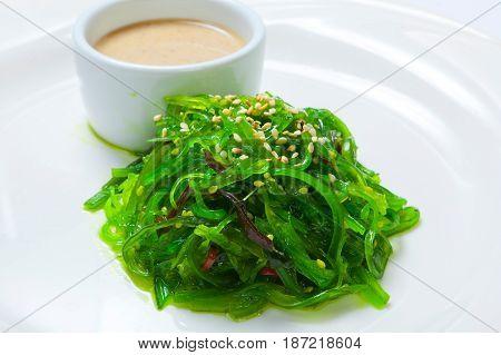 Seaweed Chuka Salad Garnished With Sesame Seeds