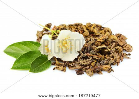 Green tea with Jasmine isolated on white background.