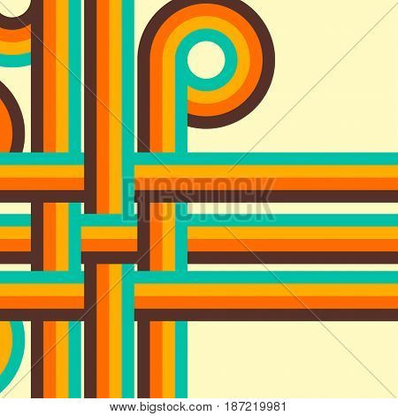 Abstract retro background, digital lines and circles, design 70.