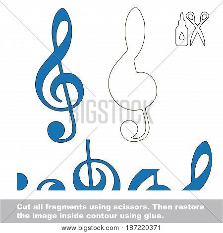 Use scissors and glue and restore the picture inside the contour. Easy educational paper game for kids. Simple kid application with Treble Clef
