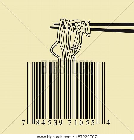 Chopsticks spaghetti barcode design idea concept isolated