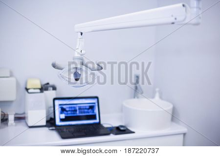 Professional dental light in clinic