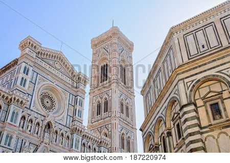 Cathedral (Duomo) Bell Tower (Campanile) and Baptistery (Battistero) - Florence Tuscany Italy