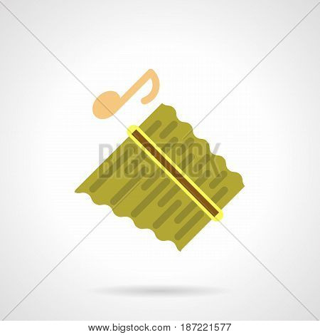 Symbol of pan flute melody with note. Wind musical instruments for music festival, concert, events. Flat color style vector icon.
