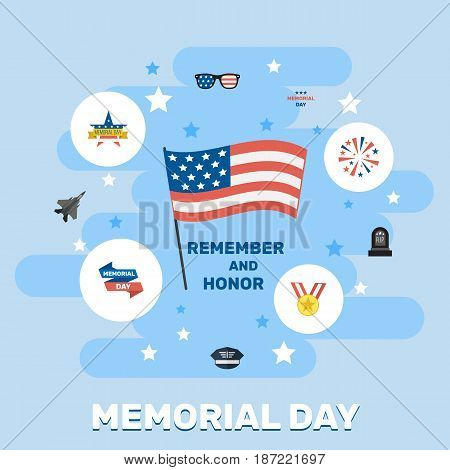 Flat Aircraft, Memorial Day, Firecracker And Other Vector Elements. Set Of Memorial Flat Symbols Also Includes Award, Usa, Memorial Objects.