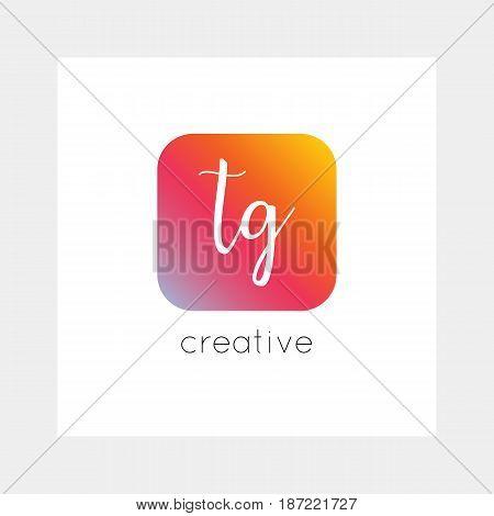 TG logo, vector. Useful as branding, app icon, alphabet combination, clip-art.