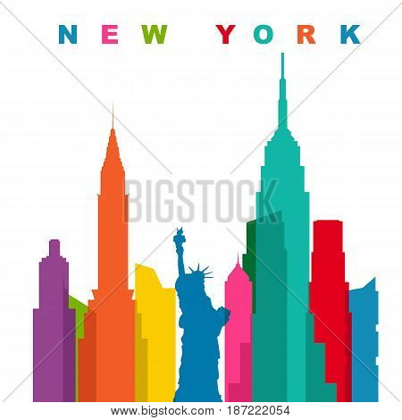 Multicolored new york city. Flat vector illustration with copyspace for text