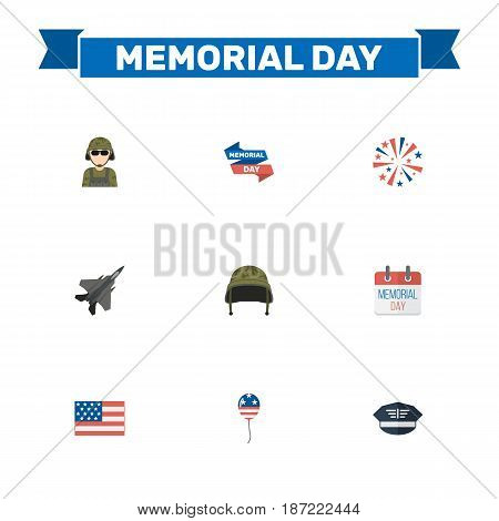 Flat Soldier Helmet, History, Firecracker And Other Vector Elements. Set Of Day Flat Symbols Also Includes Firework, Calendar, Sparklers Objects.