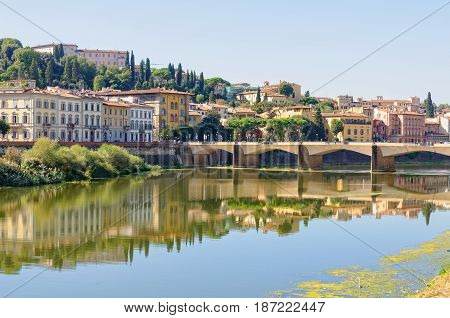 The bridge Ponte alle Grazie over the Arno river and a stretch of the south bank - Florence Tuscany Italy