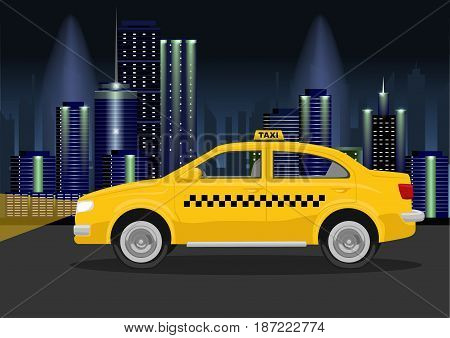 Taxi cab on the backround of night city