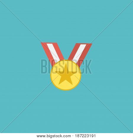 Flat Medal Element. Vector Illustration Of Flat Medallion Isolated On Clean Background. Can Be Used As Medal, Medallion And Award Symbols.