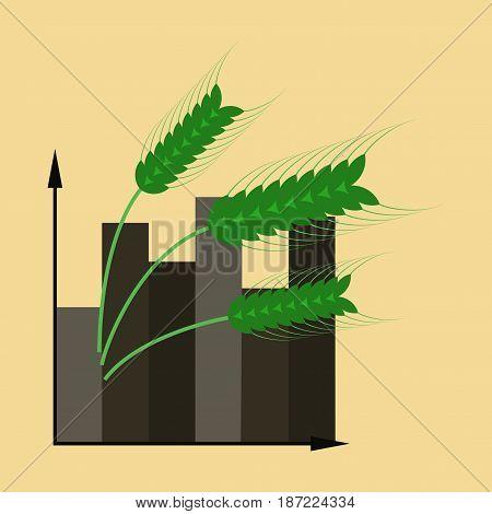 flat icon on stylish background Wheat infographics