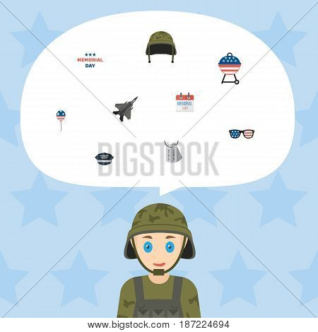 Flat Spectacles, Hat, History And Other Vector Elements. Set Of Memorial Flat Symbols Also Includes Glasses, Military, Aircraft Objects.