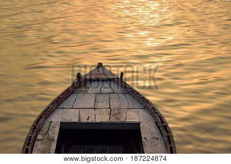 Travel Background Boat Ride at Ganges river in Varanasi, India