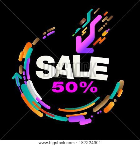 Sale 50% Label Abstract Modern background design.