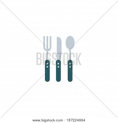 Flat Cutlery Element. Vector Illustration Of Flat Silverware Isolated On Clean Background. Can Be Used As Fork, Knife And Spoon Symbols.