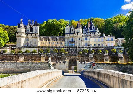 Fairytale castle Usse. Beautiful castles of Loire valley in France