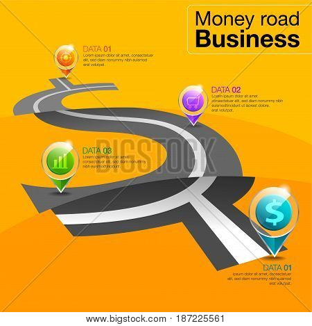 Infographic business money road design. road map to success concept vector illustration.