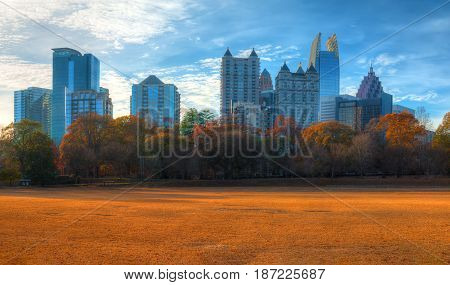 Panoramic view of the Active Oval in the Piedmont Park and Midtown Atlanta behind it in autumn day USA