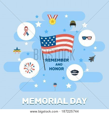 Flat Aircraft, Firecracker, Memorial Day And Other Vector Elements. Set Of History Flat Symbols Also Includes Medallion, Spectacles, Military Objects.