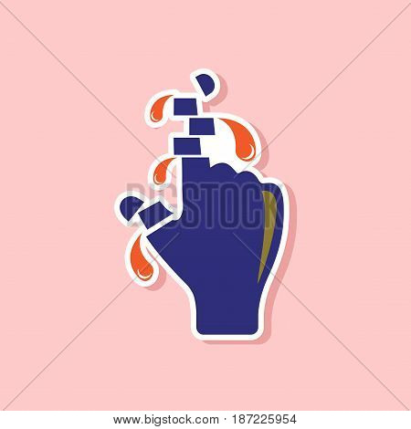 paper sticker on stylish background of cut fingers