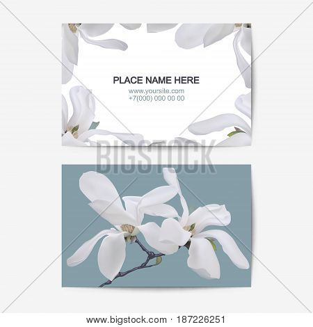 visiting card vector template with white magnolia flowers