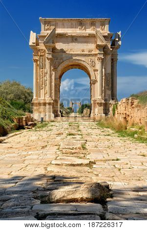Libya Tripoli Leptis Magna Roman archaeological site Arch of Septimus Severus Unesco World Heritage Site