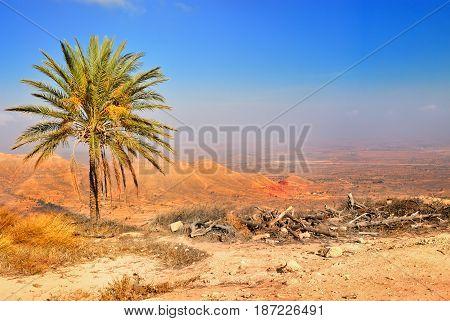Panorama of a valley in the Gharyan Libya. Libyan desert