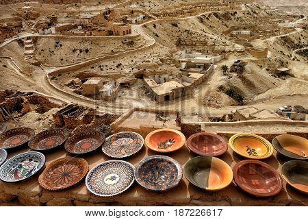 Tunisian traditional Berber pottery Chenini Ksour Tunisia
