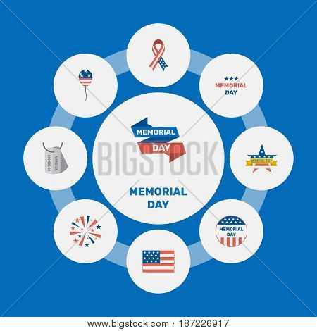Flat Holiday, Awareness, Usa Badge And Other Vector Elements. Set Of Memorial Flat Symbols Also Includes Army, Awareness, Tag Objects.