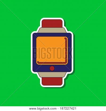 paper sticker on stylish background of Digital Watch