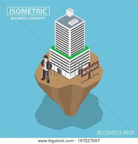 Isometric Businessman Build Business Building On Unstable Land