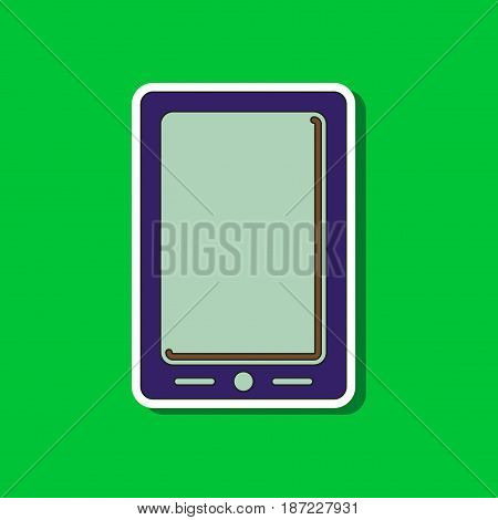paper sticker on stylish background of mobile phone