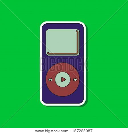 paper sticker on stylish background of music player