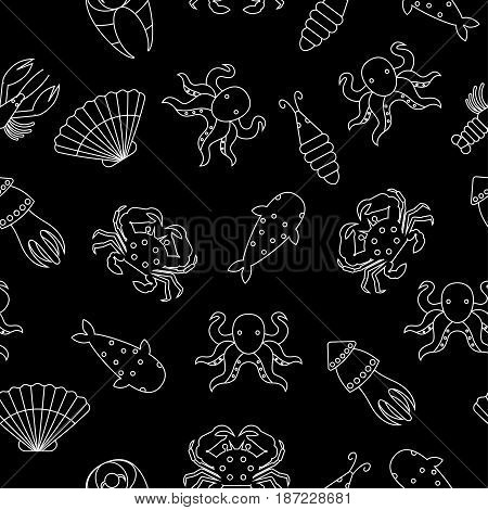 Line seafood seamless pattern. Black and white background with lobster, shrimp, salmon, fish, squid, octopus, sea shell. Vector illustration.