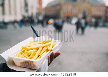 Popular Street Junk Food In Bruges, Belgium Is French Fries With Mayonnaise