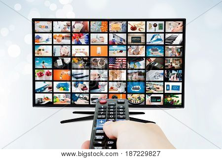 Widescreen ultra high definition TV screen with video broadcast. television tv stream video broadcast advertising watching multimedia concept