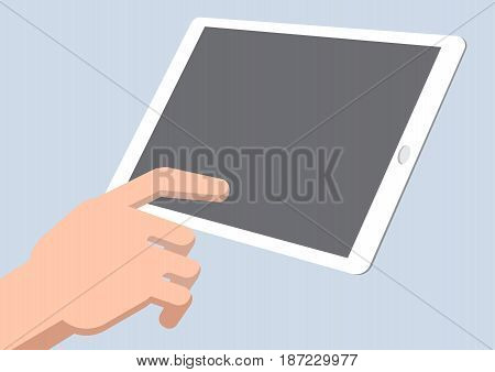 A man hand finger touching blank screen tablet , Isolated flat design style, Vector Illustration