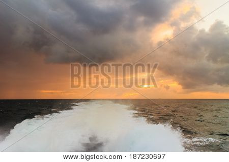 Seascape Stormy Sea Horizon And Kielwater