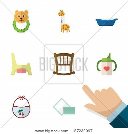 Flat Infant Set Of Nursing Bottle, Pinafore, Rattle And Other Vector Objects. Also Includes Tissue, Toilet, Rattle Elements.