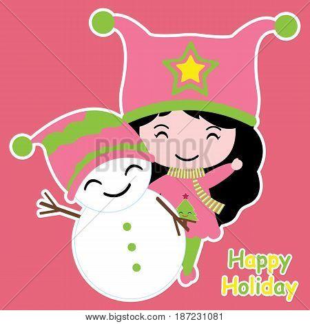Cute girl and snowman vector cartoon, Xmas postcard, wallpaper, and greeting card, T-shirt design for kids
