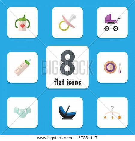 Flat Child Set Of Stroller, Baby Plate, Mobile And Other Vector Objects. Also Includes Pampers, Mobile, Stroller Elements.