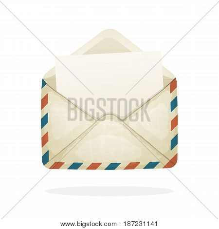 Vector illustration in cartoon style. Opened vintage mail envelope from old paper. Incoming message has been read.  Decoration for greeting cards, prints for clothes, posters