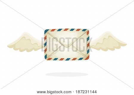 Vector illustration in cartoon style. Flying closed vintage mail envelope from old paper with wings. Not read incoming message. Decoration for greeting cards, prints for clothes, posters