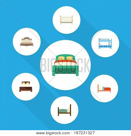 Flat Bedroom Set Of Bunk Bed, Bed, Mattress And Other Vector Objects. Also Includes Cot, Crib, Bed Elements.