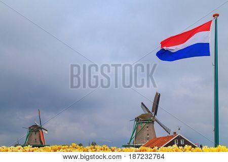 Windmills Of Zaanse Schans, Netherlands.